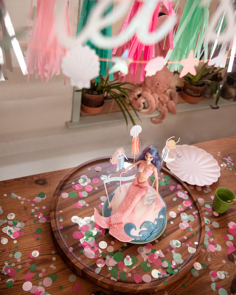 Zeemeermin taart kinderfeestje