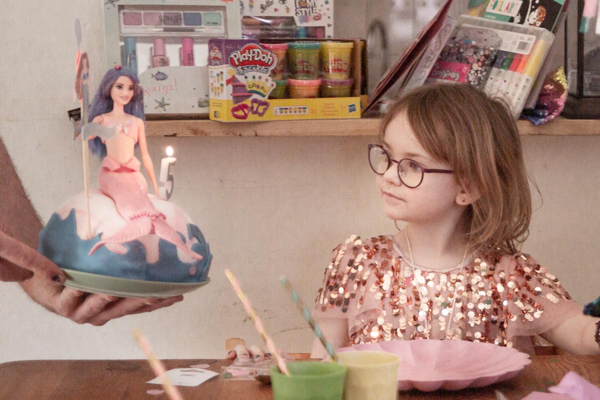 Zeemeermin barbie taart kinderfeestje